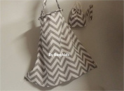 Breastfeeding Nursing Cover Set, 100% Breathable Cotton, Innovative Baby Monitor Neckline, with FREE Cotton Carrying Pouch and Pacifier Clip, Light Grey Chevron