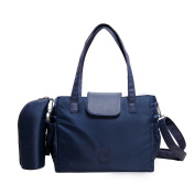 Nappy Bag in Navy Blue with Bottle Holder - Schoulder Nappy Tote Bag for Weekends, Travelling and Baby-Care