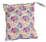 Purple Swirl Print Double Zippered Waterproof Reusable Washable Two Pocket Wet/Dry Swimsuit Nappy Bag