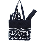 Anchor Print NGIL Quilted 3pc Nappy Bag