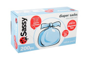 Sassy Baby Disposable Nappy Sacks, 200 Count from Sassy BRAND NEW // Built in ties to seal in odours and wetness Fresh baby powder scent Easy dispenser box