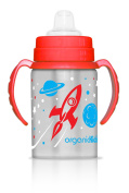 organicKidz Blast Stainless Steel 2-in-1 Sippy Water Bottle, Red/Blue, 270ml