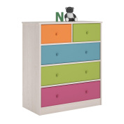 Dressers for Kids Applegate Enchanted Pine Storage Chest with 5 Fabric Bins - 90cm High x 80cm Wide x 40cm Deep