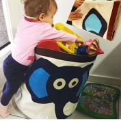 GouptecBule Elephant Toy Storage Children Organiser Folding Large Laundry Basket Admission Package Pouch Clothing Cotton Storage