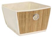 Home Basics Natural Cotton Canvas Bamboo Storage Tote Bin