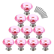 WICOO 10 PCS Kitchen Furniture Pull For Wardrobe Closet Cupdoard Cabinet Knobs And Handles Crystal Glass Drawer Knobs 30MM