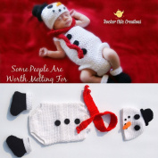 Newborn Baby Christmas Photography Prop Crochet Knitted Crochet Costume Snowman 4pcs Suit Hat Scarf and Underwear Socks