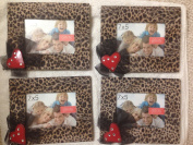 Green Tree Gallery Table Top Picture Frame 7x5 Furry Fuzzy Leopard Animal Print Red Heart with Black Tulle Trim from Hobby Lobby