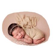 San Hojas Luxury Stretch Newborn Boy Girl Baby Photography Props Wrap Yarn Cloth Blanket (headwear not included)