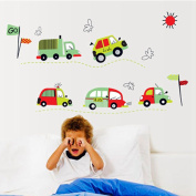 Cartoon Bus Car Wall Stickers Children Room Home Decor Boys Adhesive for Kids Room