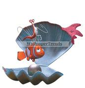 20cm Clownfish Clown Fish Peach Star Fish Starfish Jacques Shrimp Finding Nemo 2 Movie Removable Peel Self Stick Wall Decal Sticker Art Bathroom Kids Room Walt Disney Pixar Home Decor Boys Girls 20cm wide by 18cm tall