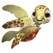 10cm Squirt Turtle Finding Nemo 2 Movie Removable Peel Self Stick Wall Decal Sticker Art Bathroom Kids Room Walt Disney Pixar Home Decor Boys Girls 9.5cm wide by 8.3cm tall