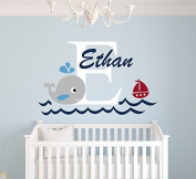 Whale Custom Name Wall Decal - Nursery Wall Decals - Baby Room Decor - Nautical Wall Decals - Whale Vinyl Sticker