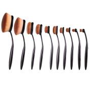 XILALU Cosmetic Makeup Blusher, 10PC/Set Toothbrush Style Eyebrow Brush Foundation Eyeliner Makeup Brushes