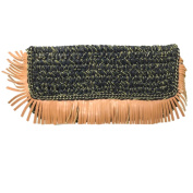 Shiraleah Womens Barbados Woven Fringe Clutch Purse