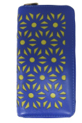 Corona Collection Zip Around Wallet Laser Cut Floral Blue and Yellow