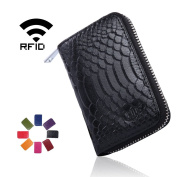 Crius RFID Blocking Genuine Leather Credit Card Wallet for Women Mini Wallet