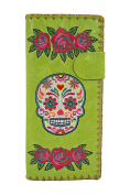 Lavishy Rockabilly Rose & Sugar Skull Day of the Dead Embroidered Large Wallet