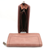 Bifold Genuine Leather Pink Brown Zip Around Wallet with Zipper Pockets