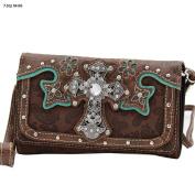 Western Cross Turquoise Brown 3 in 1 Wristlet Crossbody Wallet