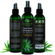 Green Leaf Naturals Aloe Vera Aftershave with Lemongrass Essential Oil - Naturally Anti-Ageing Derma-Fuel for Men - 99.8% Organic - Large Long-Lasting Bottle - 240ml