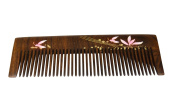 Chacate Preto Wood Comb - Pink & Light Green Flowery Design on the back and sides