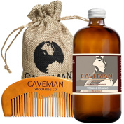 Caveman 100% Vegan and Organic Beard Oil Leave in Conditioner, 30ml oil and handmade wooden comb