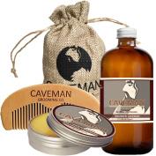 Caveman Beard Oil and Beard/Moustache Balm Wax, Handmade Comb Set in Drunken Caveman (Bay Rum) Scent 30ml oil, balm, comb