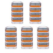 LSQtronics 20 pcs Generic Replacement 5- Blade Razor Cartridges Model Fusion Power Compatible with Gilllette handle