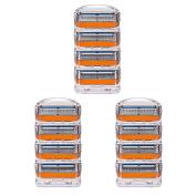 LSQtronics 12 pcs Generic Replacement 5- Blade Razor Cartridges Model Fusion Power Compatible with Gilllette handle