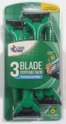 6 Pack Triple Blade Disposable Razors for Men -with Pivoting Cartridge