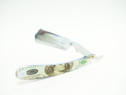 Barber Straight Razor Benjamin 100 Bill Straight Edge Cutthroat Stainless Steel and Matte Arm Plate