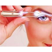 Foreveryang Women Eye Makeup LED Light Eyelash Eyebrow Hair Removal Tweezer Stainless Steel