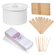 JMT Beauty Cirepil Empty Wax Can Kit (410ml), includes Assorted Wooden Stick Applicators and 100 Non-woven Wax Strips