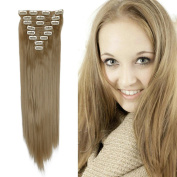 Hairpieces Clip in Synthetic Hair Extensions Japanese Kanekalon Fibre Full Head Thick Long Straight Soft Silky 8pcs 18clips for Women Girls Lady 70cm / 70cm