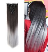 Clip in Hair Extensions Synthetic Full Head Hairpieces Japanese Kanekalon Fibre Thick Long Straight Soft Silky 8pcs 18clips for Women Fashion and Beauty 70cm / 70cm