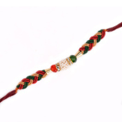 Store Indya Red And Golden Threaded Rakhi With Flower Design For Brother/Bhaiya On Raksha Bhandhan Bracelet Gifting Accessory In Traditional Design