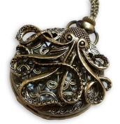 Steampunk Large Octopus Pocket Watch Necklace - Octopus Sea Monster Pocketwatch Pendant