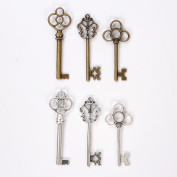 Bingcute 6 Type Of 30Pcs Antique Bronze Vintage Skeleton Keys And Antique Silver Skeleton Keys -Vintage Style Key Charms