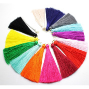 16pcs 6.5cm High Quality Silky Road Tassels with Gold Jump rings DIY Jewellery Accessory