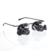 . Magnifying Glass Lupa 20X Eye Jewellery Watch Repair Magnifier Glasses With 2 LED Lights New Loupe Microscope
