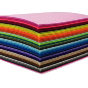 flic-flac 44PCS 4 x 4 inches (10 x10cm) Assorted Colour Felt Fabric Sheets Patchwork Sewing DIY Craft 1mm Thick