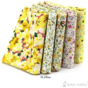 "RayLineDo® 5X Different Pattern Yellow 100% Cotton Poplin Fabric Fat Quarter Bundle 46 x 56cm ( Appox 18"" x 22"") Patchwork Quilting Fabric"