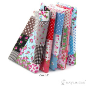 """RayLineDo® 5X Different Pattern Floral & Polka Dots Style 100% Cotton Poplin Fabric Fat Quarter Bundle 46 x 56cm ( Appox 18"""" x 22"""") Patchwork Quilting Fabric"""