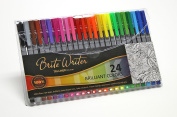 Premium Ultra-Fine Pens, Brite Writer Tri-Liner 0.4 mm, 24-Pack, Fineliner, Ultra-fine, non-toxic, brilliant water-based inks, fade-resistant, metal clad tip, ergonomic comfort-barrel grip