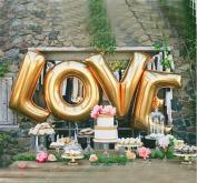 B-G LOVE (41cm ) Balloon Set, Romantic Wedding, Bridal Shower, Anniversary, Engagement Party Décor, BirthdayDécor, Vow Renewal (Golden) H013