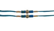Set of Two Rakhi, Stone & Moti, Thread. Rakhi, Raksha Bandhan Gift for your Brother, Blue Colour Thread.