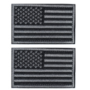 Tactical USA Flag Patch -Black & Grey. American Flag US United States of America Military Uniform Emblem Patches-2 pieces