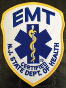 New Jersey EMT Patch ~ Royal on White ~ 10cm x 13cm