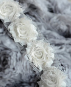 5 Yard Shabby Rose Trim 70 Shabby Flowers Shabby Frayed Chiffon Flowers Ivory Wedding Bridal Hair Accessory Headband LA068